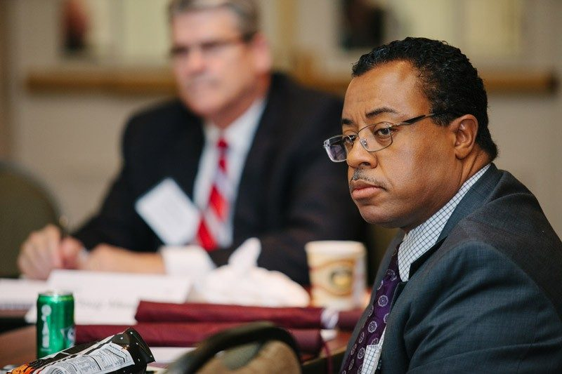 JEROME FOWLKES (FIN '88) participates in a Pamplin Advisory Council meeting.