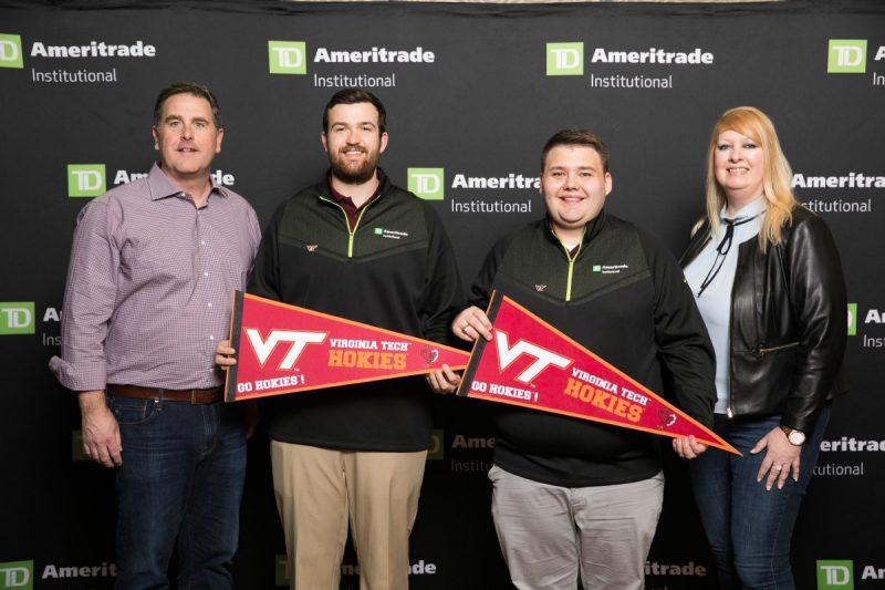 From left: Tom Nally, president, TD Ameritrade Institutional; Davis Gardner; Cade Phillips; and Kate Healy, managing director, Generation Next. Photo by LILA PHOTO for TD Ameritrade Institutional