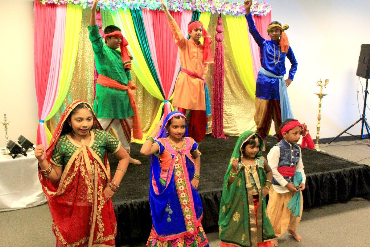 The young dancers were trained by Pratima Mathur, who runs an Indian dance school and is the wife of an MBA student.
