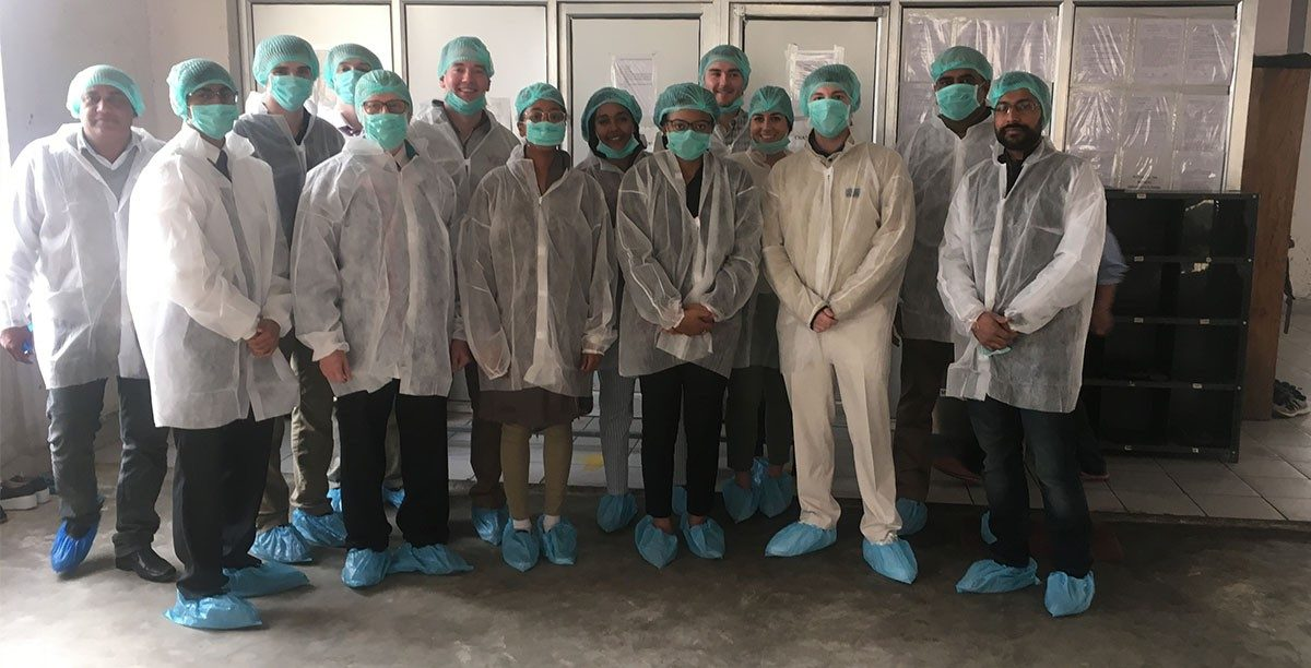 Suited up for a tour of Nourish Organics, a startup organic food business in India. (Photos courtesy of Reed Kennedy)