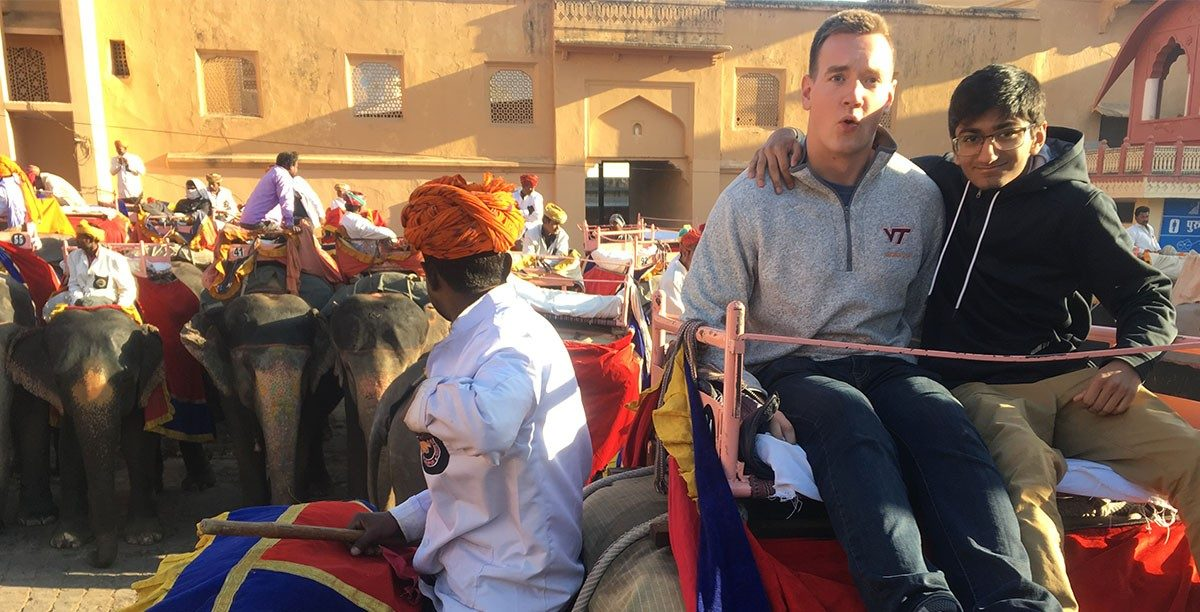 Charlie Young and Sid Muralidhar riding an elephant to the top of an ancient palace in Jaipur, India. (Photos courtesy of Reed Kennedy)