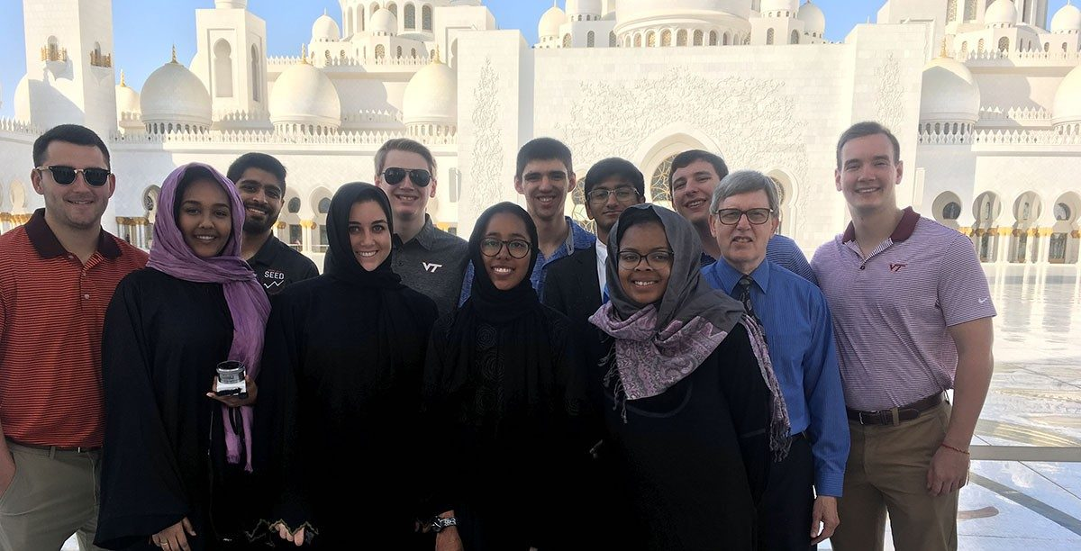 At the 4th largest mosque in the world, in Abu Dhabi. First row: Gelila Reta, Katie Pearson, Cat Piper, Victoria Jones, Reed Kennedy. Second row: Brent Yantis, Rehan Ghani, Andrew Coyle, Nick Clark, Sid Muralidhar, Ethan Williams, Charlie Young. (Photos courtesy of Reed Kennedy)