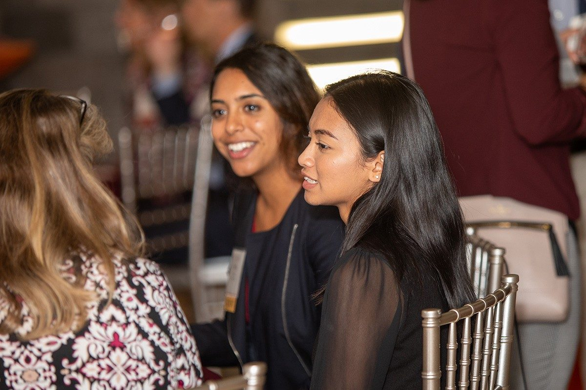 Neha Shah and Amara Wibowo, members of the Dean's Advisory Board of Students (Photo credit: Brett Lemon)