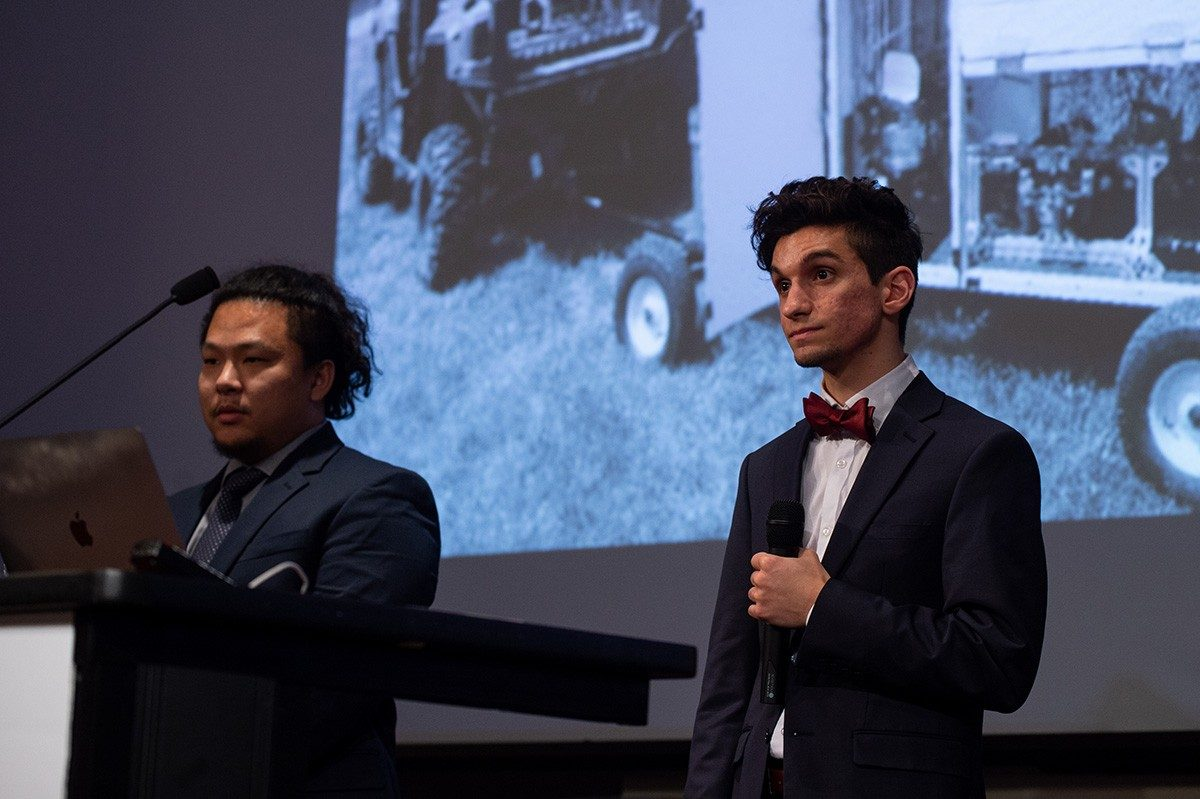 Howard Guo and Dominic LoPinto, of Scientiach, which won second prize. (Photo credit: Thomas Miller)