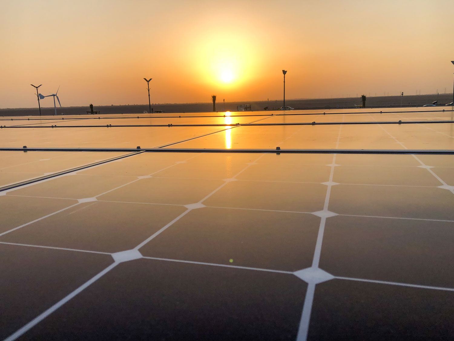 The Dubai sun sets on solar panels being used for FutureHAUS Dubai. (Photo by Laurie Booth)