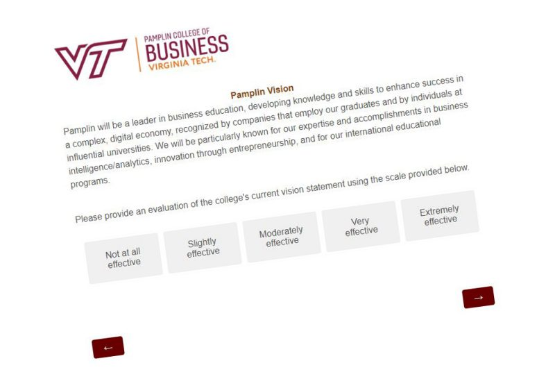 Survey - Evaluate Pamplin's Mission and Vision