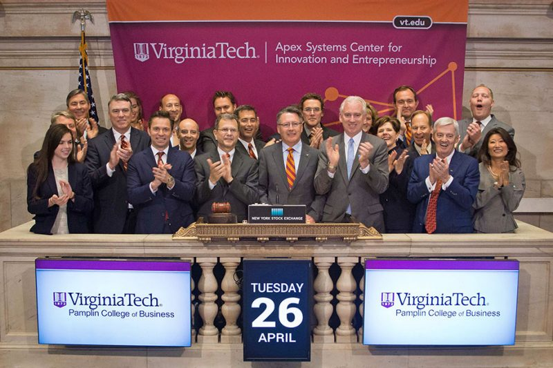 President Tim Sands, Dean Robert Sumichrast, and a group of alumni, including advisory board members of the Apex Systems Center for Innovation and Entrepreneurship, rang the closing bell at the New York Stock Exchange in April to celebrate and promote Virginia Tech's initiatives in innovation and entrepreneurship.