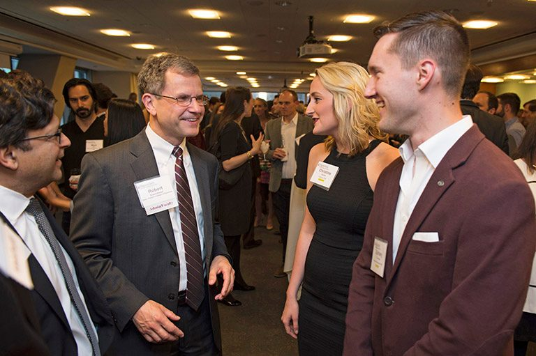 PRESIDENT TIM SANDS, Provost Thanassis Rikakis, and Dean Robert Sumichrast joined about 400 guests, including alumni, faculty, and students at the annual Hokies on Wall Street reception this year at Citigroup Center. FROM LEFT: Vijay Singal, Robert Sumichrast, Christine Smith, and Zachary Hoopes.