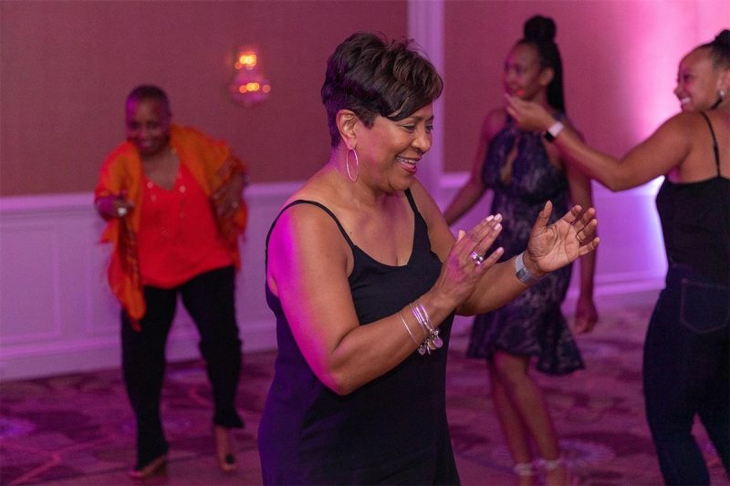 Carla Winbush (MKTG '84) takes to the dance floor. (Photo credit: Olivia Coleman)