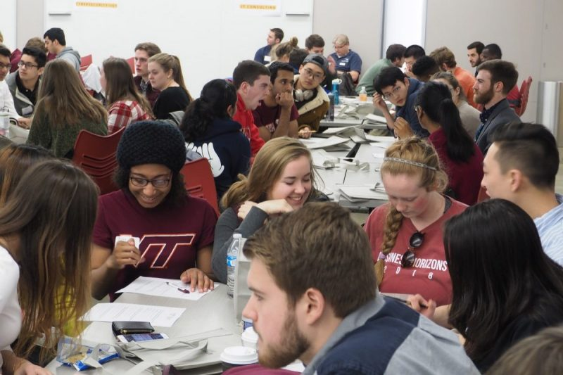 At the Spring Entrepreneurship Kickoff in January, about 200 students showed up to meet and collaborate with other students who are building new ventures and learn from companies about problems to solve in their fields. (Photo by Rachel Albrecht)
