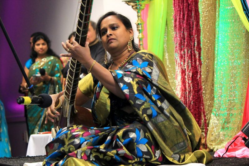 Madhuri Sankuri, wife of an MBA student, plays the sitar at the International Festival of Light, organized by hospitality and tourism management master's students.