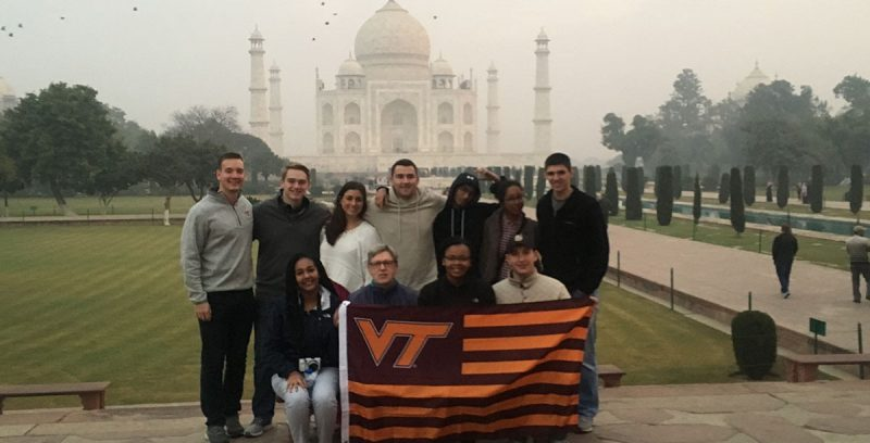 Hokies at the Taj Mahal. First row left to right: Gelila Reta, Reed Kennedy, Victoria Jones, Ethan Williams. Second row: Charlie Young, Andrew Coyle, Katie Pearson, Brent Yantis, Sid Muralidhar, Cat Piper, Nick Clark. (Photos courtesy of Reed Kennedy)