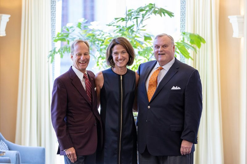 Mike Clarke (Fin '83), Bridget Ryan Berman (GBUS '82), Jake Lutz (FIN '78) Pamplin campaign co-chairs. (Photo credit: Brett Lemon)
