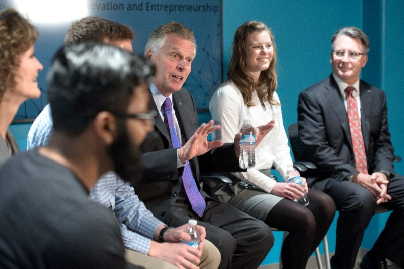Virginia Governor Terry McAuliffe visits students at inVenTs Residential Community and Apex Systems Center for Innovation and Entrepreneurship.