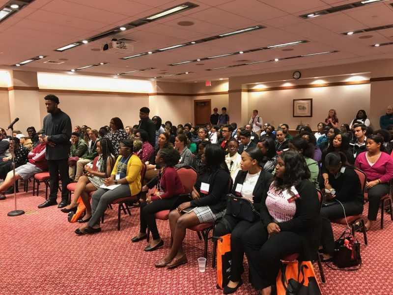 Visiting undergraduates from 17 Historically Black Colleges and Universities and Minority Serving Institutions as current Virginia Tech graduate students questions about graduate life, the admissions process, and living in Blacksburg during the HBCU/MSI Research Summit.
