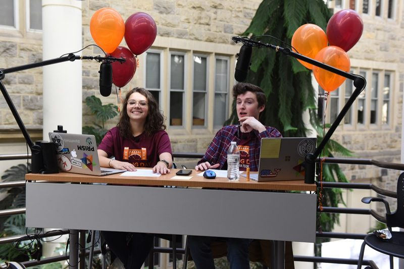 "Kendyl Florence and Ben Gallaher during the live podcast of ""VT Pamplin Presents: Our Voice"" on March 19."
