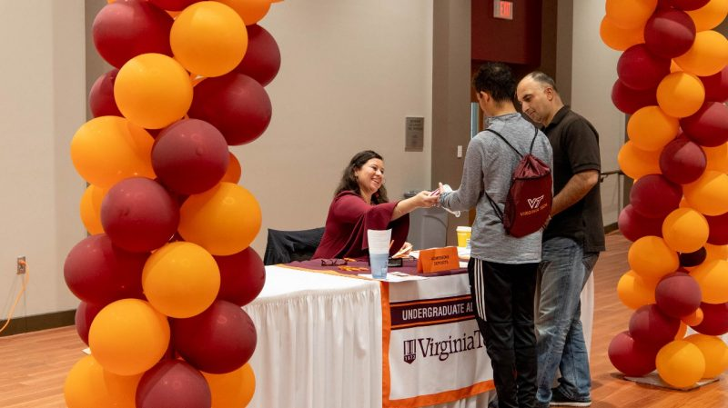 Officially a Hokie! A student places his deposit and is welcomed to the Hokie Nation.