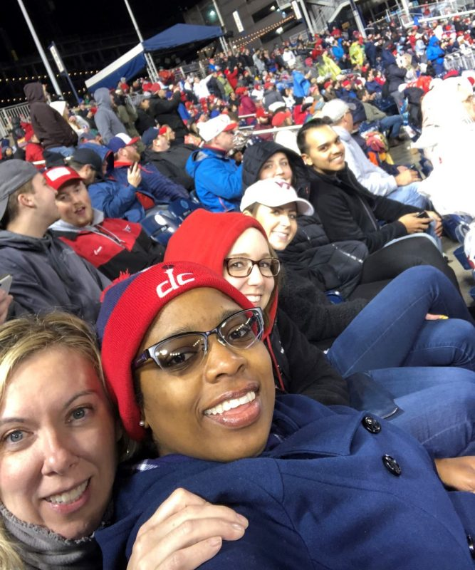 Shelby Mullen and Sophie Smith attended a Washington Nationals baseball game along with members of the Hyatt Regency Washington, D.C. sales team.