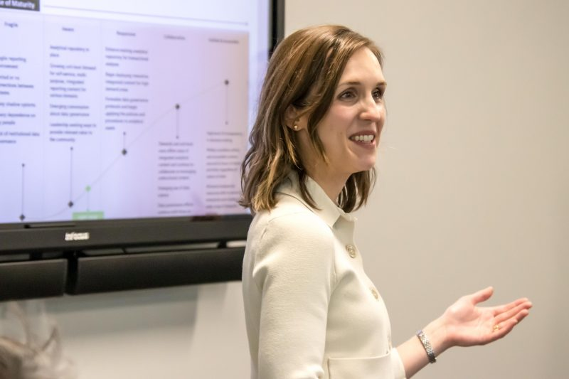 Priscilla Enner speaks during her group's capstone project presentation June 9 at ITA International's new office at the Tech Research Park in Newport News, Virginia.