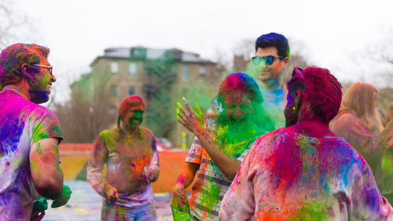 Students participate in a Holi event on campus, hosted by the Indian Student Association. Campus events such as this illustrate the interdisciplinary nature of event management.