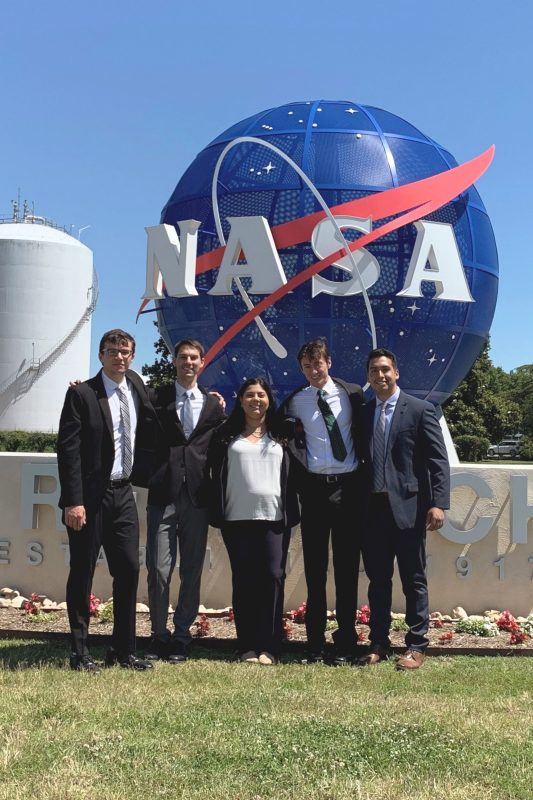 Members of the NASA LaRC team on site at the Langley Research Center in Hampton, Virginia. Pictured from left to right: Michael Hoare, Matthew Casadonte, Deanna Bonaventura, Jack Pitz, and Alex Bahrami.