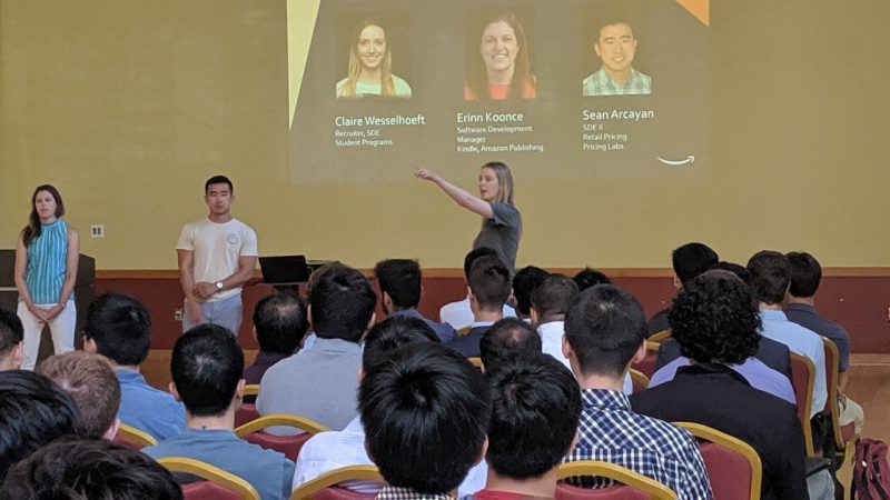 Claire Wesselhoeft, recruiter for Amazon student programs, and her team, including Virginia Tech computer science graduates Erinn Koonce and Sean Arcayan, take questions from the more than 100 students attending the information session.
