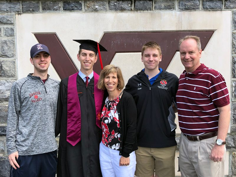 Virginia Tech has become home to three generations of the Snead family. Pictured are Josh Snead (senior, BIT), Jake Snead (CHE '19), Sandy Snead, Nick Snead (first-year, engineering), and John Snead Jr. (MBA '90, FIN '88).